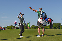 Sung Hyun Park (KOR) celebrates her chip in from off the green for birdie on 18 during round 2 of  the Volunteers of America LPGA Texas Classic, at the Old American Golf Club in The Colony, Texas, USA. 5/6/2018.<br /> Picture: Golffile | Ken Murray<br /> <br /> <br /> All photo usage must carry mandatory copyright credit (&copy; Golffile | Ken Murray)