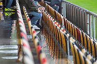 Newport fans watch on in the rain during the Sky Bet League 2 match between Newport County and Barnet at Rodney Parade, Newport, Wales on 3 September 2016. Photo by Mark  Hawkins / PRiME Media Images.