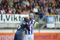 VOETBAL: HEERENVEEN: Abe Lenstra Stadion, SC Heerenveen - Feyenoord, 06-05-2012, Bruno Martins Indi (#5), Bas Dost (#12), Eindstand 2-3, ©foto Martin de Jong