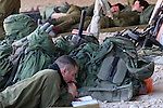 Israeli paratroopers seen resting this morning, Thursday January 22, 2009, in a base close the Israel Gaza border. Photo By: Eliyahu Ben Igal / JINI