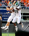 October 9, 2009 - Champaign, Illinois, USA -Michigan State safety Danny Fortener (33) celebrates an interception which he returned for a touchdown in the game between the University of Illinois and Michigan State at Memorial Stadium in Champaign, Illinois.  Michigan State defeated Illinois 24 to 14.