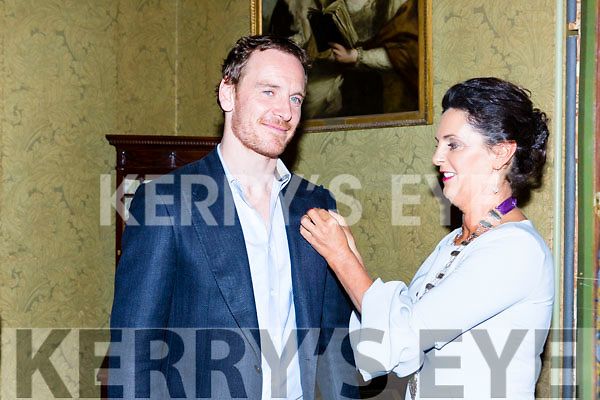 Michael Fassbender is presented a pin by Kate O'Leary President of Killarney Chamber of Commerce at the Order of Inisfallen ceremony at Muckross House Killarney on Friday night