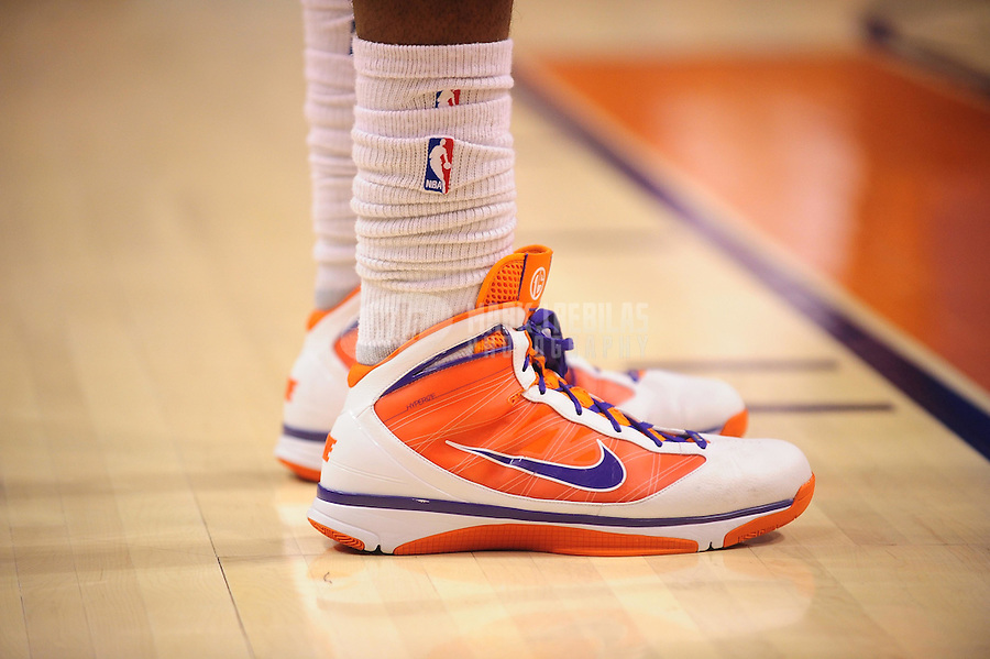 Dec. 23, 2009; Phoenix, AZ, USA; Detailed view of the shoes of Phoenix Suns forward (1) Amare Stoudemire against the Oklahoma City Thunder at the US Airways Center. The Thunder defeated the Suns 117-113. Mandatory Credit: Mark J. Rebilas-