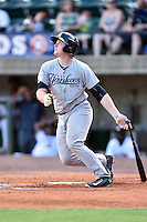 Pulaski Yankees designated hitter Austin Afenir (38) swings at a pitch during a game against the Greeneville Astros on July 11, 2015 in Greeneville, Tennessee. The Yankees defeated the Astros 9-3. (Tony Farlow/Four Seam Images)