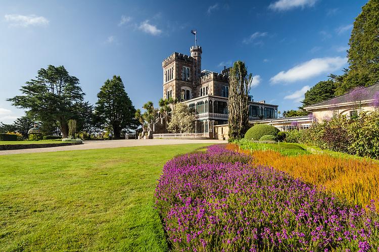 Formal gardens and historic Larnach Castle, Otago Peninsula, New Zealand - stock photo, canvas, fine art print