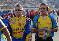 May 4, 2007; Richmond, VA, USA; Nascar Nextel Cup Series driver Bobby Labonte (43) with crew chief Paul Andrews during qualifying for the Jim Stewart 400 at Richmond International Raceway. Mandatory Credit: Mark J. Rebilas