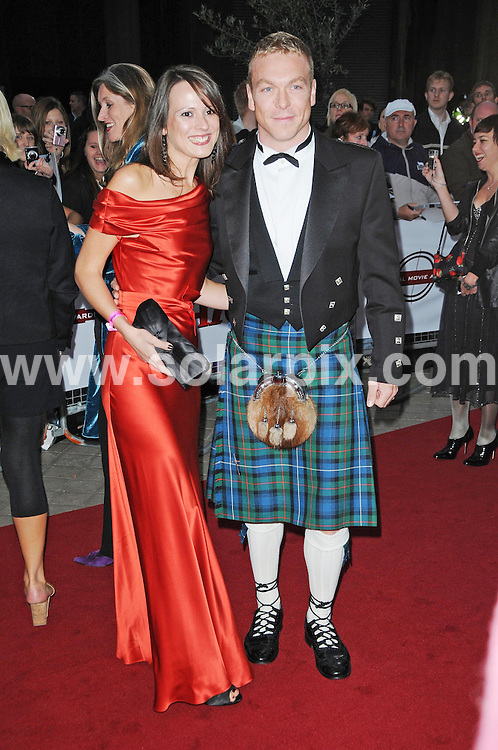 **ALL ROUND PICTURES FROM SOLARPIX.COM**.**WORLDWIDE SYNDICATION RIGHTS**.Celebrities arrive at The Movie awards 2008 at The Royal festival Hall in London..This pic;Sarra Kemp & Chris Hoy ..JOB REF:  7256      MSR    DATE: 087.09.08.**MUST CREDIT SOLARPIX.COM OR DOUBLE FEE WILL BE CHARGED* *UNDER NO CIRCUMSTANCES IS THIS IMAGE TO BE REPRODUCED FOR ANY ONLINE EDITION WITHOUT PRIOR PERMISSION*