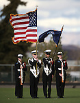 The Honor Guard on the field before Carson and Reed compete in the NIAA D-1 North title game at Bishop Manogue High School in Reno, Nev., on Saturday, Nov. 29, 2014.<br /> Photo by Cathleen Allison