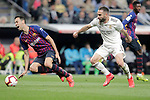Real Madrid CF's Daniel Carvajal and FC Barcelona's Sergio Busquets during La Liga match. March 02,2019. (ALTERPHOTOS/Alconada)