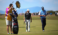 Graeme McDowell (NIR) and Matt Kuchar (USA) during Round One of the 145th Open Championship, played at Royal Troon Golf Club, Troon, Scotland. 14/07/2016. Picture: David Lloyd | Golffile.<br /> <br /> All photos usage must carry mandatory copyright credit (&copy; Golffile | David Lloyd)
