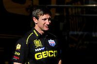 Feb. 17 2012; Chandler, AZ, USA; NHRA top fuel driver Morgan Lucas during the Arizona Nationals at Firebird International Raceway. Mandatory Credit: Mark J. Rebilas-
