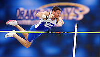 Indiana State's Anthony Bertoli clears the bar during the pole vault in the decathlon April 23, 2009 in the Drake Relays at Drake Stadium in Des Moines, Iowa.