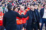 Luis Enrique Martinez coach  of Futbol Club Barcelona and Diego Pablo Cholo Simeone coach of Atletico de Madrid during the match of Spanish La Liga between Atletico de Madrid and Futbol Club Barcelona at Vicente Calderon Stadium in Madrid, Spain. February 26, 2017. (Rodrigo Jimenez / ALTERPHOTOS)