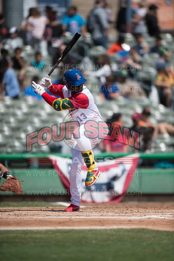 Stockton Ports left fielder Lazaro Armenteros (13) during a California League game against the San Jose Giants on April 9, 2019 in Stockton, California. San Jose defeated Stockton 4-3. (Zachary Lucy/Four Seam Images)