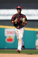 Rochester Red Wings outfielder Eddie Rosario (1) jogs to the dugout during a game against the Norfolk Tides on May 3, 2015 at Frontier Field in Rochester, New York.  Rochester defeated Norfolk 7-3.  (Mike Janes/Four Seam Images)