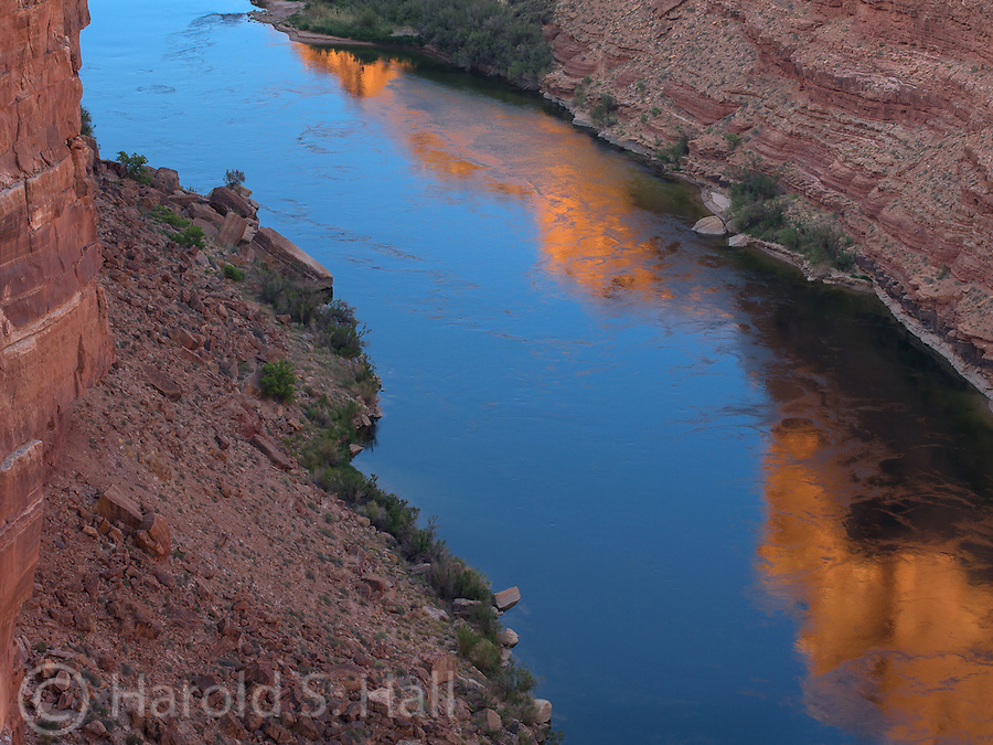 This is a view of the Colorado River from the Navajo Bridge in Arizona near Lees Ferry.