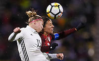 Columbus, Ohio - Thursday March 01, 2018: Alexandra Popp, Carli Lloyd during a 2018 SheBelieves Cup match between the women's national teams of the United States (USA) and Germany (GER) at MAPFRE Stadium.