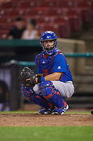 South Bend Cubs catcher Michael Cruz (8) looks into the dugout during a game against the Kane County Cougars on July 21, 2018 at Northwestern Medicine Field in Geneva, Illinois.  South Bend defeated Kane County 4-2.  (Mike Janes/Four Seam Images)