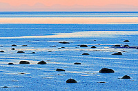 Shore of Gulf of St. Lawrence at dusk<br /> Baie COmeau<br /> Quebec<br /> Canada