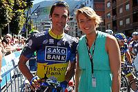 Alberto Contador and spanish swimmer Erika Villaecija before the stage of La Vuelta 2012 between Andorra  and Barcelona.August 26,2012. (ALTERPHOTOS/Paola Otero) /NortePhoto.com<br /> <br /> **CREDITO*OBLIGATORIO** <br /> *No*Venta*A*Terceros*<br /> *No*Sale*So*third*<br /> *** No*Se*Permite*Hacer*Archivo**<br /> *No*Sale*So*third*