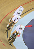 05 DEC 2014 - STRATFORD, LONDON, GBR - Laura Trott (GBR) leads the Great Britain women's team race around the track during their women's Team Pursuit final against Australia at the 2014 UCI Track Cycling World Cup  at the Lee Valley Velo Park in Stratford, London, Great Britain (PHOTO COPYRIGHT © 2014 NIGEL FARROW, ALL RIGHTS RESERVED)