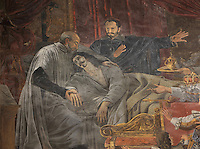St Vincent de Paul assisting King Louis XIII on his deathbed, detail, fresco, 1825, by Alexandre-Charles Guillemot, 1786-1831, in the Chapelle de Saint-Vincent-de-Paul, in the church of Saint-Sulpice, built 1646-1870, in the 6th arrondissement of Paris, France. Picture by Manuel Cohen