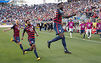 Santa Clara, CA - Wednesday July 26, 2017: Jozy Altidore celebrates his goal during the 2017 Gold Cup Final Championship match between the men's national teams of the United States (USA) and Jamaica (JAM) at Levi's Stadium.
