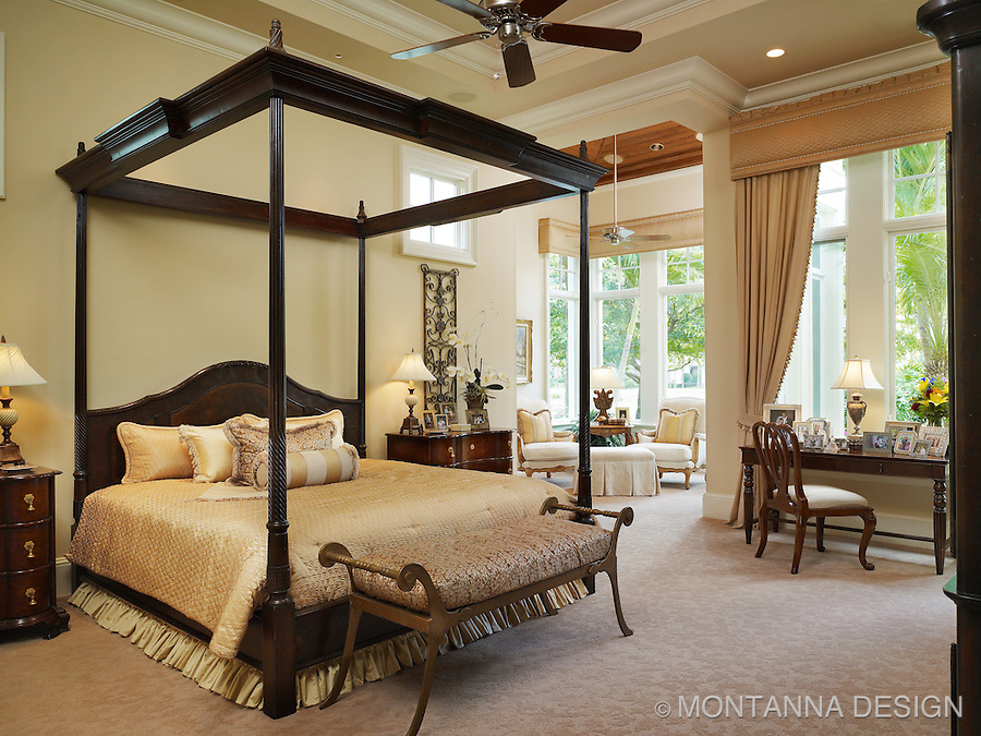 Four poster bed, and striking English styling makes for an elegant Master Suite