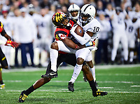 College Park, MD - NOV 25, 2017: Penn State Nittany Lions wide receiver Brandon Polk (10) is hit hard by Maryland Terrapins defensive back Antwaine Richardson (20) during game between Maryland and Penn State at Capital One Field at Maryland Stadium in College Park, MD. (Photo by Phil Peters/Media Images International)