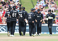 The Blackcaps celebrate the wicket of England's Ben Stokes. New Zealand Blackcaps v England. One Day International Cricket. Seddon Park, Hamilton, New Zealand on Sunday 25 February 2018.<br /> <br /> Copyright photo: &copy; Bruce Lim / www.photosport.nz