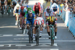 Caleb Ewan (AUS) Lotto-Soudal just pips Dylan Groenewegen (NED) Team Jumbo-Visma by centimetres for the sprint finish of Stage 11, with Elia Viviani (ITA) Deceuninck-Quick Step having the best view, of the 2019 Tour de France running 167km from Albi to Toulouse, France. 17th July 2019.<br /> Picture: Colin Flockton | Cyclefile<br /> All photos usage must carry mandatory copyright credit (© Cyclefile | Colin Flockton)