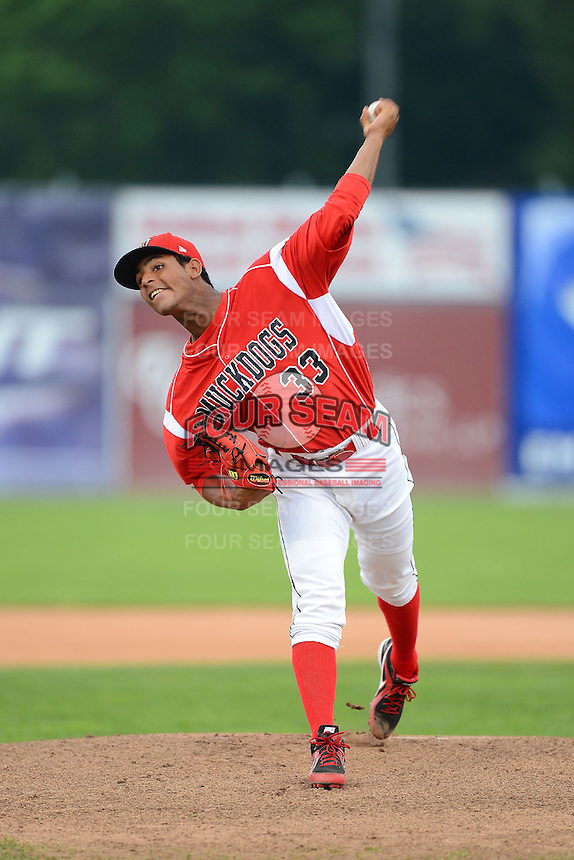 Batavia Muckdogs pitcher Jarlin Garcia (33) during a game against the Vermont Lake Monsters on July 10, 2013 at Dwyer Stadium in Batavia, New York.  Batavia defeated Vermont 8-6.  (Mike Janes/Four Seam Images)