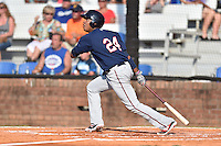 Johnson City Cardinals designated hitter Amaurys Minier (24) swings at a pitch during a game against the Elizabethton Twins at Howard Johnson Field at Cardinal Park on June 26, 2016 in Johnson City, Tennessee. The Twins defeated the Cardinals 13-12. (Tony Farlow/Four Seam Images)