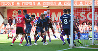 Lincoln City's Cian Bolger vies for possession with Bristol Rovers' Tony Craig<br /> <br /> Photographer Chris Vaughan/CameraSport<br /> <br /> The EFL Sky Bet League One - Lincoln City v Bristol Rovers - Saturday 14th September 2019 - Sincil Bank - Lincoln<br /> <br /> World Copyright © 2019 CameraSport. All rights reserved. 43 Linden Ave. Countesthorpe. Leicester. England. LE8 5PG - Tel: +44 (0) 116 277 4147 - admin@camerasport.com - www.camerasport.com