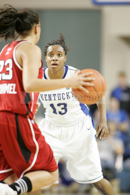 UK Freshman guard Bria Goss plays defense against Louisville Shoni Schimmel during the first half of UK Hoop's home game against Louisville at Memorial Coliseum in Lexington, Ky., Dec. 4, 2011. Photo by Brandon Goodwin