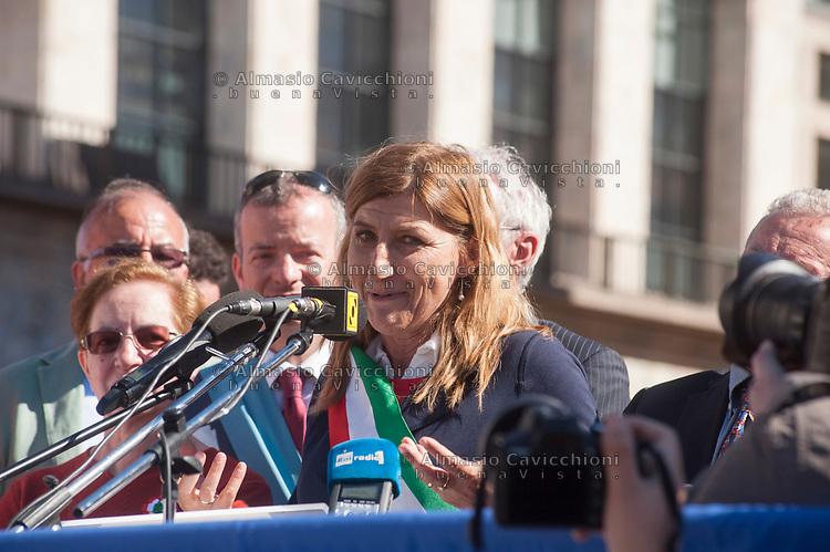 Milano, 25 Aprile 2016, manifestazione per la festa della Liberazione dal nazifascismo. Giusi Nicolini sindaco di Lampedusa.<br /> Milan, April 25, 2016, demonstration for the Liberation Day. Giusi Nicolini mayor of the isle of Lampedusa.