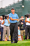29 August 2009: Webb Simpson tees off on the 15th hole during the third round of The Barclays PGA Playoffs at Liberty National Golf Course in Jersey City, New Jersey.