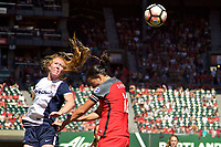 Portland, OR - Saturday September 02, 2017: Tori Huster, Christine Sinclair during a regular season National Women's Soccer League (NWSL) match between the Portland Thorns FC and the Washington Spirit at Providence Park.