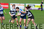 Tralee's Riona Kennedy been well held by  Thurles Ciara Devlin in the Munster Ladies League game in O'Dowd Park on Sunday.