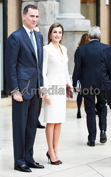16 February 2016 - Madrid Queen Letizia and King Felipe during a meeting with the board of the Prado museum at the Museo Nacional del Prado in Madrid. Photo Credit: PPE/face to face/AdMedia
