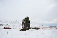 Mean Llia standing stone in winter, Brecon Beacons national park, Wales