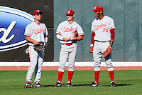 NASHVILLE, TENNESSEE-Feb. 26, 2011:  Outfielders Tyler Gaffney, Jake Stewart and Austin Wilson of Stanford chat during a break against Vanderbilt, during a game at Vanderbilt University in Nashville, Tennessee.  Vanderbilt defeated Stanford 8-7.