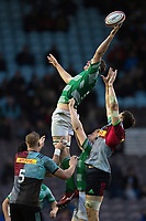 Forwards compete at a lineout. Premiership Rugby Cup match, between Harlequins and Newcastle Falcons on November 4, 2018 at the Twickenham Stoop in London, England. Photo by: Patrick Khachfe / JMP