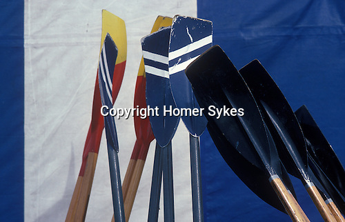 Detail of oars at Henley Regatta, Henley on Thames, Oxxfordshire, England.