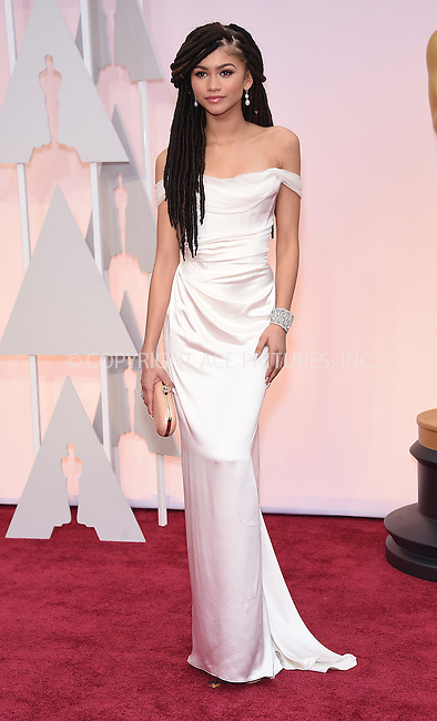 WWW.ACEPIXS.COM<br /> <br /> February 22 2015, LA<br /> <br /> Zendaya arriving at the 87th Annual Academy Awards at the Hollywood &amp; Highland Center on February 22, 2015 in Hollywood, California.<br /> <br /> By Line: Z15/ACE Pictures<br /> <br /> <br /> ACE Pictures, Inc.<br /> tel: 646 769 0430<br /> Email: info@acepixs.com<br /> www.acepixs.com