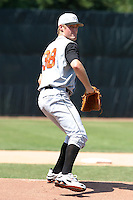 July 31, 2005:  Pitcher Garrett Olson of the Aberdeen Ironbirds before a game at Russell Diethrick Park in Jamestown, NY.  Aberdeen is the Short Season Single-A NY-Penn League affiliate of the Baltimore Orioles.  Photo By Mike Janes/Four Seam Images
