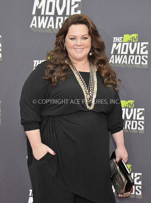 WWW.ACEPIXS.COM....April 14 2013, LA......Melissa McCarthy arriving at the 2013 MTV Movie Awards at Sony Pictures Studios on April 14, 2013 in Culver City, California. ....By Line: Peter West/ACE Pictures......ACE Pictures, Inc...tel: 646 769 0430..Email: info@acepixs.com..www.acepixs.com