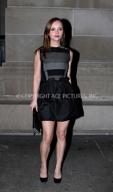 WWW.ACEPIXS.COM....December 4 2012, Ndew York City....Christina Ricci arriiving at HBO's In Vogue: The Editor's Eye screening at Metropolitan Museum of Art on December 4, 2012 in New York City....By Line: Nancy Rivera/ACE Pictures......ACE Pictures, Inc...tel: 646 769 0430..Email: info@acepixs.com..www.acepixs.com