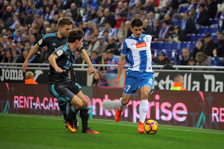 League Santander 2016/2017. Game: 22.<br /> RCD Espanyol vs Real Sociedad: 1-2.<br /> Odriozola, Illarra &amp; Gerard Moreno.