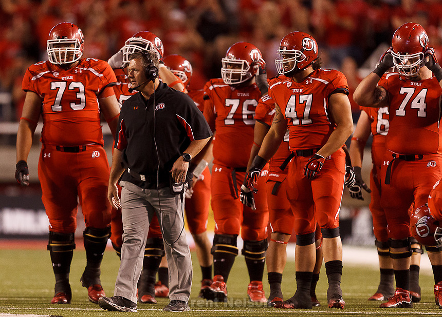 Trent Nelson  |  The Salt Lake Tribune.Utah head coach Kyle Whittingham looks on as Utah hosts BYU college football in Salt Lake City, Utah, Saturday, September 15, 2012.